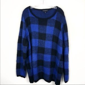 •Lane Bryant•BuffaloCheck Plaid Blue Black Sweater
